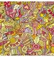 Cartoon doodles hand drawn holidays seamless vector image