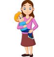 cartoon mother carrying a boy in her arms vector image vector image