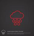 cloud rain outline symbol red on dark background vector image vector image