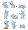 collection happy rhino with various posing vector image vector image