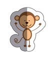 color sticker with monkey and middle shadow vector image vector image