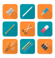 colored flat style various stationery icons set vector image