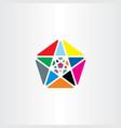 colorful pentagon star geometric logo abstract vector image