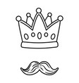 crown and moustache black and white vector image vector image