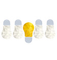 crumpled paper lightbulbs - creative sketch draw vector image vector image
