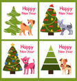cute cartoon dogs wishes happy new year near tree vector image vector image