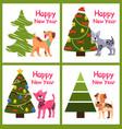 cute cartoon dogs wishes happy new year near tree vector image