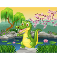 Cute little crocodile presenting vector image vector image