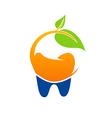 dentist green leaf natural logo vector image