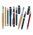Different pens and pencils vector image vector image