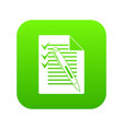 document with plan and pen icon digital green vector image vector image