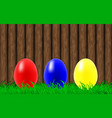 easter eggs on a wooden wall background vector image