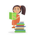 girl in orange dress with open textbook vector image vector image
