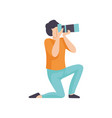guy taking photos with modern digital camera male vector image vector image