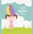 happy children day little girl with ball in head vector image vector image