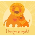 Happy Fathers Day card Cute lion and cub vector image vector image
