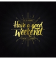Have a good weekend calligraphy typography phrase vector image