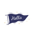 hello flag graphic old vintage trendy flag vector image vector image