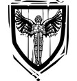 heraldic shield winged knight vector image vector image