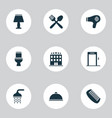 hotel icons set with bathroom hairdryer comb and vector image