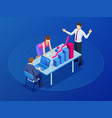 isometric concept for business teamwork and vector image vector image