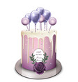 lavender cake realistic white chocolate vector image vector image