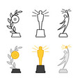 line and colorful different awards figurines vector image vector image
