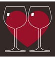Love Wine Glasses vector image