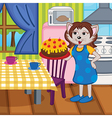 mother cat baked cake in kitchen vector image