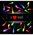 moving colorful sperm on black background vector image