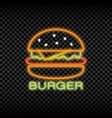 neon light sign of burger cafe vector image vector image