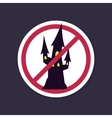 No Ban or Stop sign Halloween witch castle icon vector image