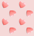 pink romantic seamless pattern with 3d hearts vector image