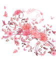 pink swirl of flowers for your design vector image vector image