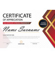 red elegance certificate template vector image vector image