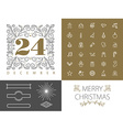 Retro hispter monogram line set christmas design vector image