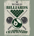 retro sport poster for billiard club vector image vector image