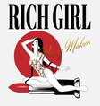 rich girl money maker hand drawn vector image vector image