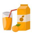 ripe orange juice drink fruits realistic organic vector image vector image