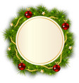 round Christmas wreath of fir branches vector image vector image