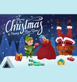 santa with christmas gift stuck in chimney on roof vector image vector image