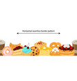 seamless border pattern with sweet desserts vector image