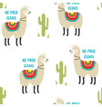 seamless cute llama pattern isolated on white vector image vector image
