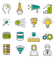set colored server and startup line icons vector image vector image