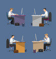 set of managers in office in flat style vector image