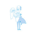 silhouettehappy couple married and man carrying vector image
