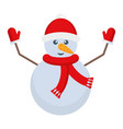 snowman with a carrot nose and a hat on his head vector image vector image