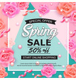 spring sale banner with roses pearls and ribbons vector image vector image