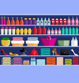 store shelves with assortment of goods vector image