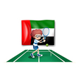 The UAE flag at the back of a tennis player vector image vector image